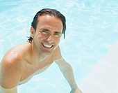Man in water smiling