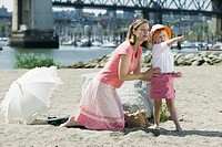 Caucasian Mom and 4 year old Daughter, a day on the beach, Sunset Beach, Vancouver, B C