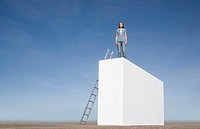 Woman standing on wall with ladder