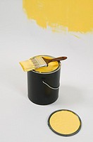 Open paint can, lid, colour swatch and brush, Canada, British Columbia