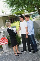 Realtor shaking hands with gay couple