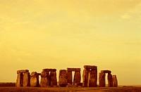 Stonehenge monument on landscape at dusk, Wiltshire, England
