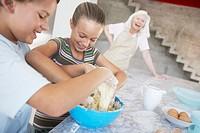 Children having fun with food