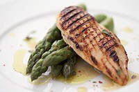 Grilled chicken breast and asparagus