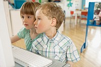 Preschool children using a computer