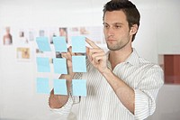 Businessman looking at sticky notes