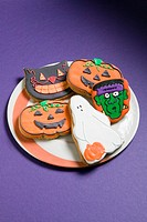 Cookies frosted with Halloween characters