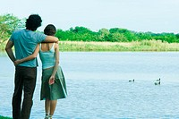 Couple standing by lake, looking at view, rear view