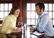 Couple drinking wine at restaurant