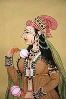 Miniature Painting on Paper Portrait of Royal Mughal Lady