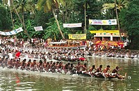 Boat Race Festivals , Snake Boat Race progress , jalostavam for Haripad Subramanya Temple , Kerala , india