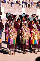women wearing traditional dress at ladakh festival , leh , jammu and kashmir , india