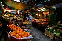 A fresh food market in Hong Kong