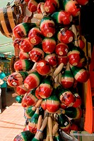 Close-up of maracas hanging in a store