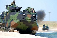 Virginia Beach, Va. (May 01, 2007) - Amphibious Assault Vehicles (AAV) maneuver on the beach as part of a comparison exhibit with the Expeditionary Fi...