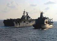 ATLANTIC OCEAN (August 2, 2007) - Amphibious assault ship USS Kearsarge (LHD 3) prepares to come along side USNS John Lenthall during a replenishment ...