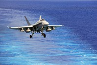 PACIFIC OCEAN (August 9, 2007) - An F/A-18C, assigned to the 'Sunliners' of Strike Fighter Squadron (VFA) 81, prepares to land on the flight deck of t...