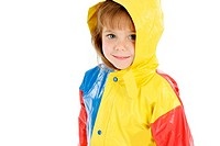 Girl in colourful rain coat