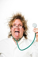 Doctor with messy hair sticking out his tongue while holding up stethoscope