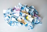 Crumpled banknotes in a pile