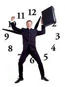 Businessman holding briefcase jumping up with clock as background