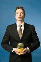 Businessman holding cactus in a pot, looking up