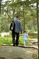 Father strolling with his daughter, rear view