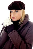 Woman in winter clothing looking at the camera