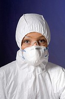 Woman in protective mask and goggles (thumbnail)