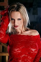 Seductive woman in red dress (thumbnail)
