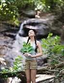 Hiker Holding Leaves