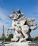 Statue of Deity Riding Winged Horse with Eiffel Tower in Background