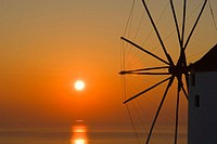 Windmill at sunset. Santorini. Greece