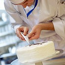Dessert Chef Preparing Cake