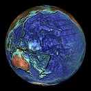 Global topography  Topographical map of the Earth, centred on 0 degrees North, 180 degrees East  The seas and oceans are colour-coded by depth  Turquo...