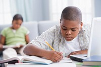 African American boy doing homework