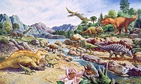 Cretaceous fauna  Artwork depicting animals that existed in the Cretaceous period 144 to 65 million years ago  Depicted on the left are the dinosaurs ...