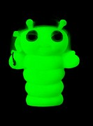 Phosphorescent plastic toy  This toy glow-worm glows by phosphorescence, a slow-release form of photoluminescence, the process where light is absorbed...