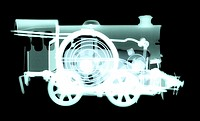 Spring train  X-ray showing the mechanism inside a toy train