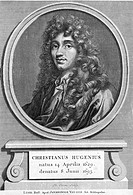Christiaan Huygens 1629-1695, Dutch astronomer, mathematician and physicist, artwork  The inscription gives the Latin form of his name, Christianus Hu...