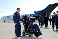 Stephen Hawking, born 1942 British theoretical physicist, with Peter Diamandis, founder of Zero Gravity Corporation, at Kennedy Space Center, Florida,...