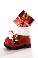 Santa boot with christmas parcel
