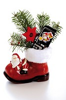 Santa boot with mobile-phone