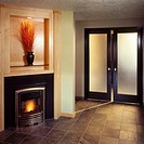 Contemporary Fireplace in Hallway
