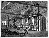 19th century production of coal gas, historical artwork  Workers at this coal plant are converting coal into ´town gas´ for domestic use and street li...
