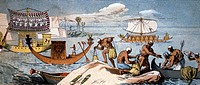 Ancient Egyptian ships  Historical artwork of several types of boats and ships used in Ancient Egypt  Elaborate royal barges are at left, an oared sai...