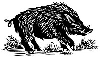 Wild boar  Woodcut artwork of a wild boar Sus scrofa  Native throughout much of Europe, North Africa and Asia, the wild boar is the wild ancestor of t...
