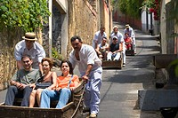 Traditional toboggan ride, Funchal, Madeira