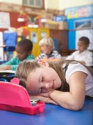 Students in class one is sleeping