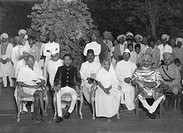 Mahatma Gandhi during a visit to the ruler of Rajkot, Gujarat, India, May 1939 - MODEL RELEASE NOT AVAILABLE